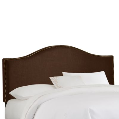 Skyline Nail Button Arched Headboard in Chocolate