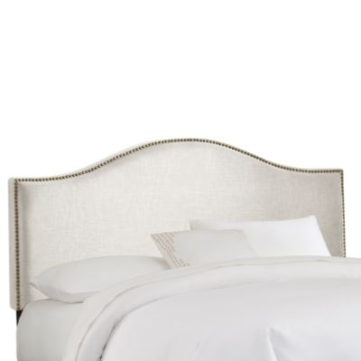 Skyline Nail Button Arched Headboard in Talc