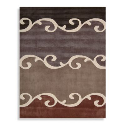 Nourison Contours Scroll 7-Foot 3-Inch x 9-Foot 3-Inch Rug in Mocha Brown