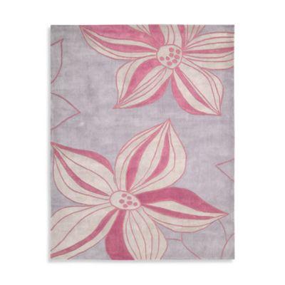 Nourison Contours Violet Floral 7-Foot 3-Inch x 9-Foot 3-Inch Rug