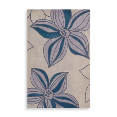 Contours Floral Rugs in Blue