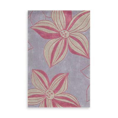 Nourison Contours Violet Corner Floral Area Rug - 3-Foot 6-Inch x 5-Foot 6-Inch