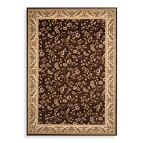 World Rug Gallery Elite Brown Floral 8' Round Rug