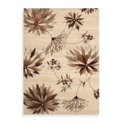 Elite Floral 2-Foot 7-Inch x 7-Foot 9-Inch Runner in Beige