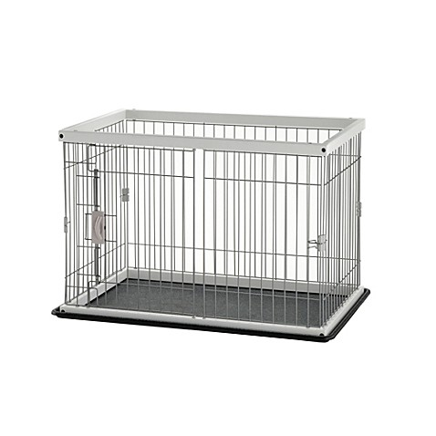 Richell 2-Way Door Pet Pen with Floor Tray in White
