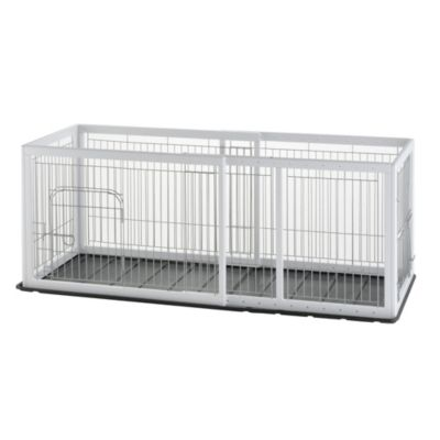 Richell Expandable Origami Medium Pet Pen with Floor Tray in White