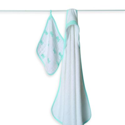 aden + anais® Hooded Towel & Washcloth Set in Sea