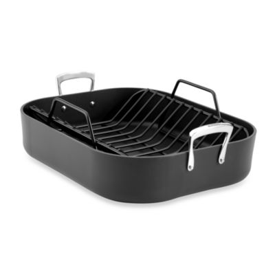 All-Clad Hard Anodized Solid Aluminum 16-Inch x 13-Inch Roaster with Rack