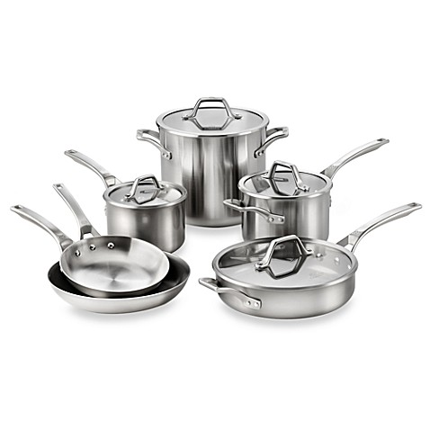 Calphalon® AccuCore™ Stainless 10-Piece Cookware Set and Open Stock