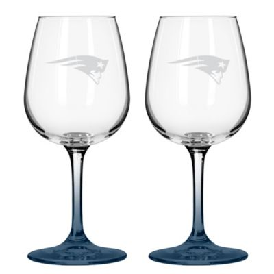 NFL New England Patriots Satin Etched Wine Glasses (Set of 2)