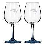 Satin Etched NFL New England Patriots Wine Glasses (Set of 2)