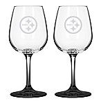 Satin Etched NFL Pittsburgh Steelers Wine Glasses (Set of 2)