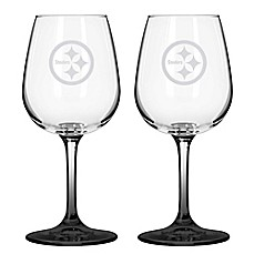 NFL Pittsburgh Steelers Satin Etched Wine Glasses (Set of 2)