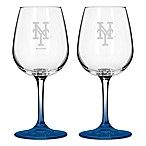 Satin Etched MLB New York Mets Wine Glasses (Set of 2)