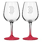 Satin Etched MLB Boston Red Sox Wine Glasses (Set of 2)