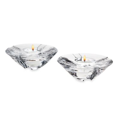 Godinger Dublin Crystal Sussex Votives with Tea Lights (Set of 2)