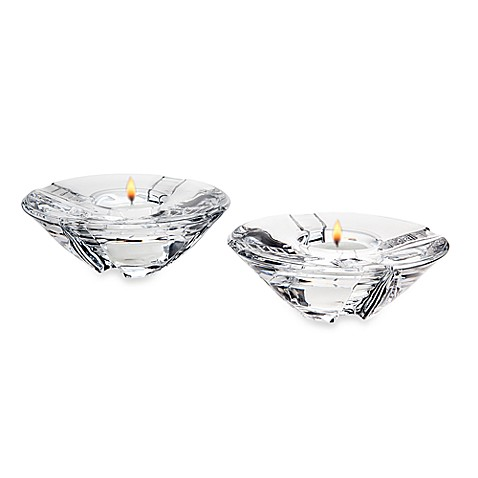 Godinger Dublin Crystal Sussex Votives with Tealights (Set of 2)
