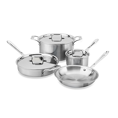 All-Clad d5 Brushed Stainless Steel 7-Piece Cookware Set and Open Stock
