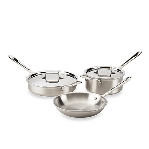 All-Clad d5 Brushed Stainless Steel 5-Piece Cookware Set and Open Stock