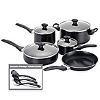 Farberware® Aluminum Nonstick 12-Piece Cookware and Skillet Sets - Black