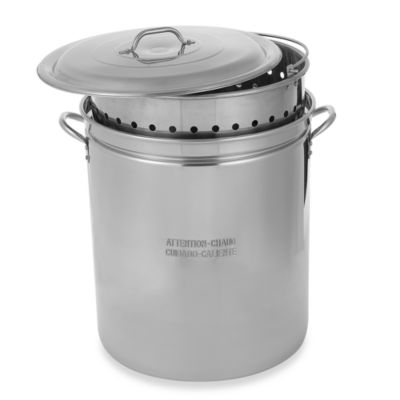 King Kooker® 62-Quart Lidded Stainless Steel Pot with Steamer Rim