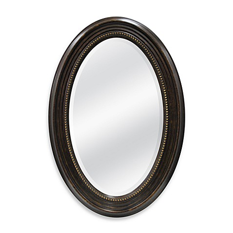 21-Inch x 31-Inch Oval Mirror in Tortoise Bead Finish