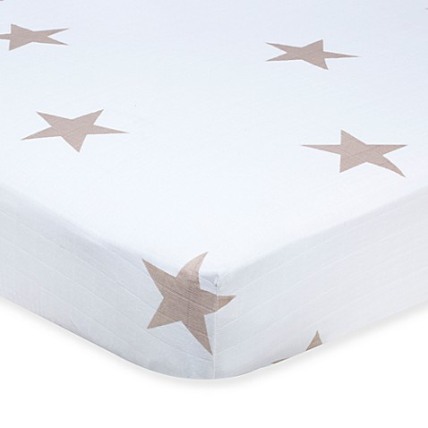 aden® by aden + anais® Muslin Crib Sheet in Super Star Scout Fawn