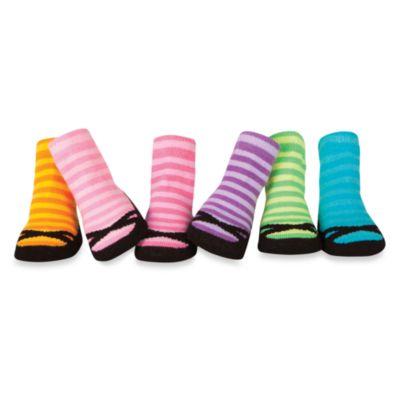 Trumpette Girls 6-Pack Size 0 to 12 Months Striped Ballerina Socks