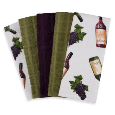 Wine 5-Piece 100% Cotton Terry Cloth Kitchen Towels
