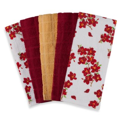 Flower 100% Cotton Terry Cloth Kitchen Towels in 5-Pack