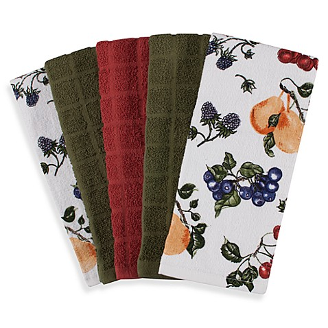 Cotton Terry Cloth Kitchen Towels in Fruit (Set of 5)