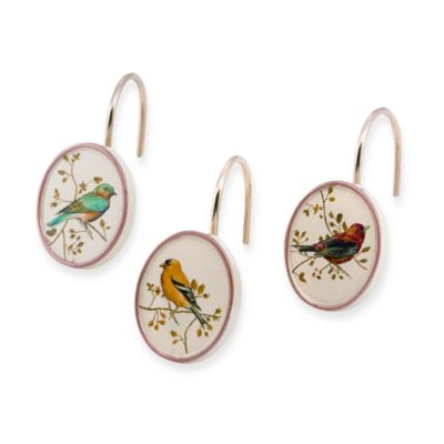 Gilded Bird Shower Curtain Hooks (Set of 12)