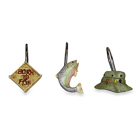 Born to Fish Shower Curtain Hooks