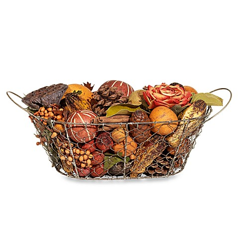 Harvest Blossom Wire Basket Potpourri