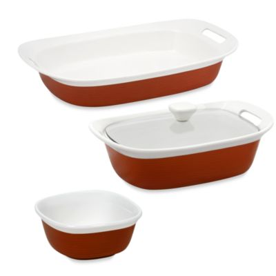 CorningWare® Etch™ 4-Piece Bakeware Set in Brick