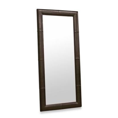 Egeus Leather Frame Leaner Mirror in Dark Brown