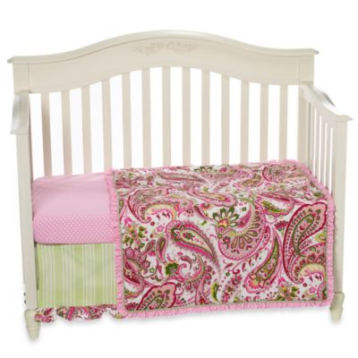 My Baby Sam Paisley Splash in Pink 3-Piece Crib Bedding Set