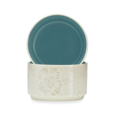 Noritake® Colorwave Bloom Stacking Bowls in Turquoise (Set of 2)