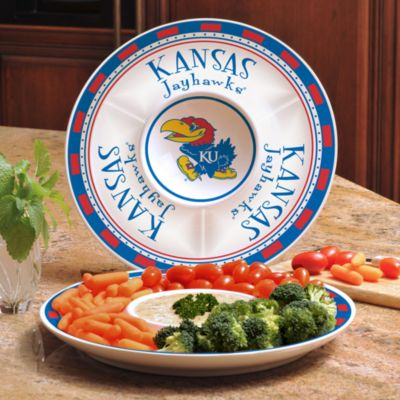 Univestiy of Kansas Gameday Ceramic Chip and Dip Server