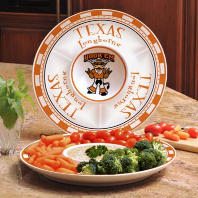 University of Texas Gameday Ceramic Chip and Dip Server