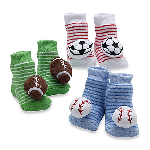 Cutie Pie Size 0 to 12 Months Baby Rattle Sports Balls 3-Pack Socks in Box