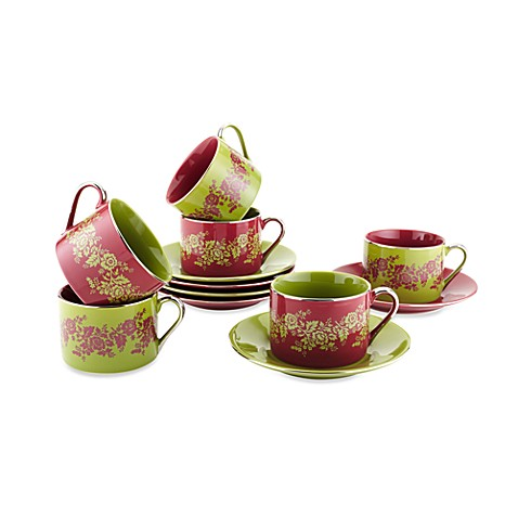 Classic Coffee & Tea Nouveau Floral Cups and Saucers (Set of 6)