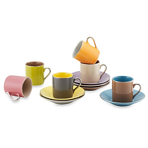 Siena Multi-Colored Espresso Cups and Saucers - Set of 6