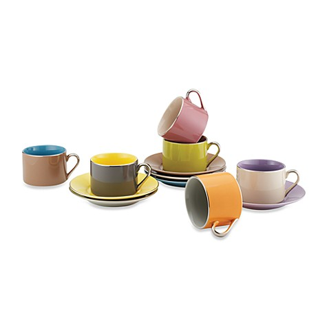 Classic Coffee & Tea Siena Cups and Saucers (Set of 12)