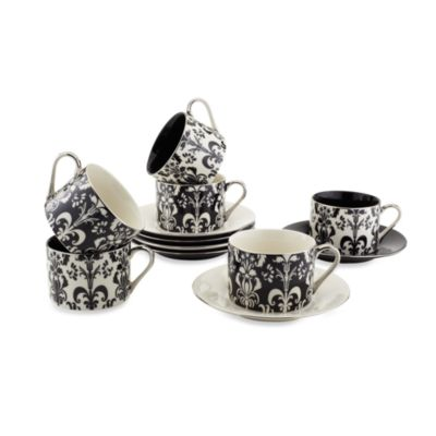 Classic Coffee & Tea Nouveau Chic Teacups and Saucers (Set of 6)