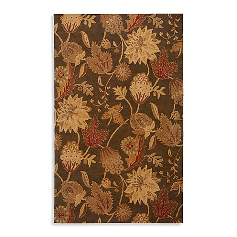 Rizzy Home Floral Collection Reagan Brown Wool Rugs