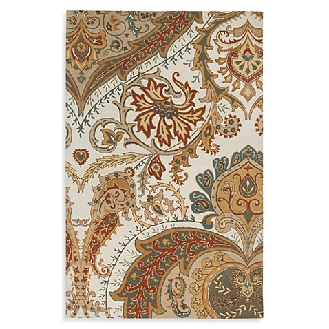 Rizzy Home Floral Collection Tristan Wool Rugs in Beige