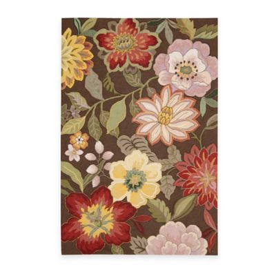 Nourison Fantasy Wild Flower 2-Foot 3-Inch x 8-Foot Area Rug in Chocolate