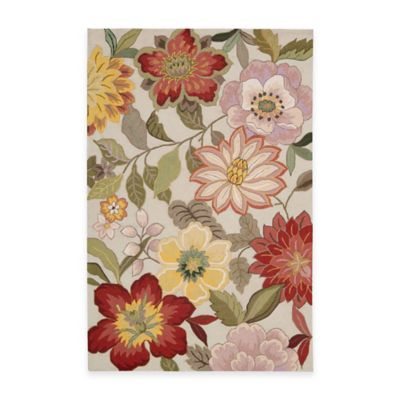 Nourison Fantasy Wild Flower Area Rugs in Ivory