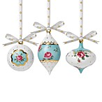 Royal Albert New Country Polka Roses Holiday Ornaments Set of 3